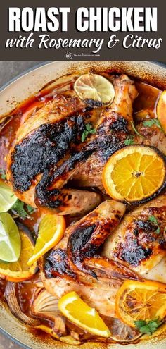 Best roast chicken ever! Crisp, tangy, and succulent rosemary chicken covered in a bold Mediterranean citrus marinade and roasted to tender perfection! Chicken Pork Recipe, Healthy Chicken Recipes, Mediterranean Chicken, Mediterranean Diet Recipes, Grilling Recipes, Cooking Recipes, Rosemary Roasted Chicken, Greek Dishes, Main Dishes