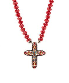 Red Crystal Cross Pendant Necklace by F.A.I.T.H. #zulily #zulilyfinds F.A.I.T.H. represents their mission to make a positive impact on the world. Their jewelry is handcrafted in the USA by female artisans who have escaped traumatic situations.