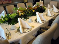 Corporate event florals. Floral table runner, boardroom flowers, tropical table runner.