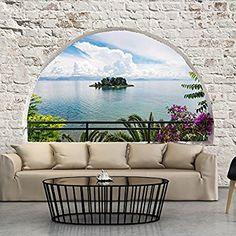 Non-woven mural stone wall beach sea window wallpaper murals Room Wallpaper, Photo Wallpaper, Wallpaper Murals, Wall Design, House Design, Mural Wall Art, Decoration, Interior And Exterior, Interior Design