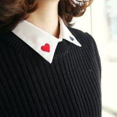 midnightCOCO  Embroidered Collar Shirt