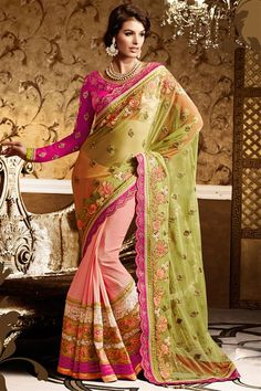 Net Peach, Green Designer party wear saree with blouse