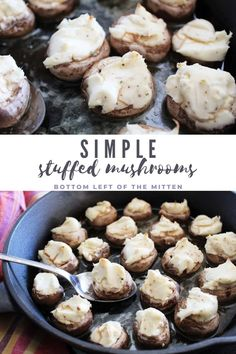 Just a few ingredients are needed to make these Simple Stuffed Mushrooms with a creamy herbed filling and lots of melted butter. Great for dipping slices of bread for an appetizer or as a side to pasta dishes. #appetizers #stuffedmushrooms #easysidedish #mushrooms #sidedish