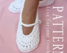 Zapatillas de ganchillo PATRÓN las mujeres por LisaCorinneCrochet