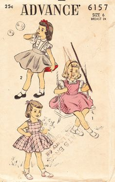 Vintage 1940s Girls' And Toddlers Jumper, Sundress, and Blouse - Advance Sewing Pattern No. 6157 - Size 6