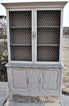 Beneath the Magnolias: French Provincial China/cabinet Hutch -  La Craie furniture paint from Maison Blanche in Silver Mink