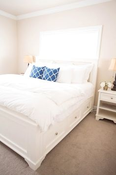 Woodworking bed plans pottery barn ideas for 2019 Bed Frame Parts, Bed Parts, Diy Bed Frame, Bed Frames, King Size Storage Bed, King Size Bed Frame, Bed Storage, Storage Drawers, Pottery Barn