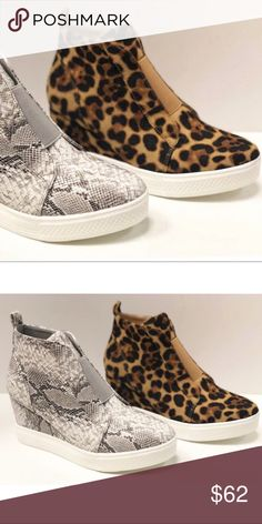 e905e9430377 NEW! LEOPARD Print Platform Wedge Sneakers Wedge sneakers. Animal print.  Faux suede material