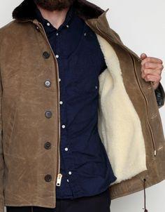 Medium length waxed cotton winter jacket from Spiewak