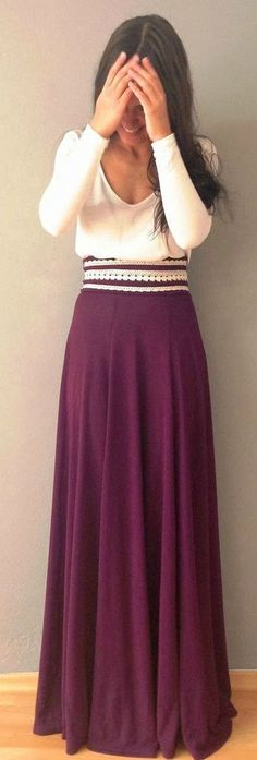 Gorgeous maroon long skirt and white top