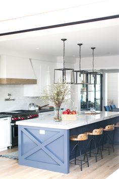 A family's dream home built from the ground up in Corona del Mar is complete with eclectic furnishings and personalized finishing touches making this one happy place to be. Build: Graystone C… Kitchen Lamps, Boho Kitchen, Red Kitchen, Rustic Kitchen, Kitchen Decor, Kitchen Island, Dream Home Design, House Design, Modern Kitchen Design