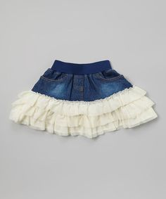 Look what I found on #zulily! Ivory Denim Ruffle Skirt - Toddler & Girls #zulilyfinds