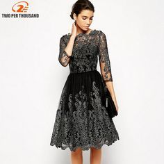 Elegant Women Sliver Embroidery Lace Ball Gown Dress 2018 Vintage Style  Sexy Sheer Mesh Sleeve Night Out Party Dresses 57d0eb79cf