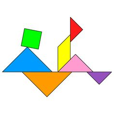Tangram Man falling - Tangram solution #157 - Providing teachers and pupils with tangram puzzle activities