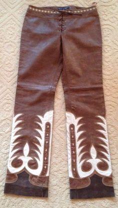 RALPH LAUREN Ltd Ed Runway Leather Western Cowboy Equestrian Pant 10 Switzerland #LaurenRalphLauren #Leather