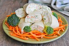 Veggie Wrap- Might try some broccoli slaw in place of the chopped broccoli. You could increase the veggies and decrease the cream cheese to make them a bit healthier.