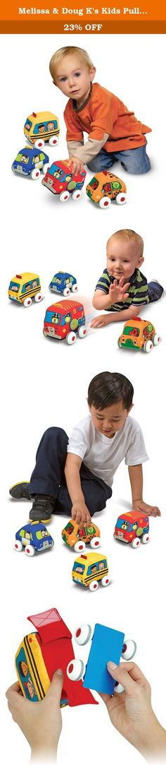 """Melissa & Doug K's Kids Pull-Back Vehicle Set - Soft Baby Toy Set With 4 Cars and Trucks and Carrying Case. Wheel them back to get new skills speeding ahead! The """"rev up"""" mechanism inside each of these four cars and trucks makes it easy for babies and toddlers to get big acceleration with just a little input: Pull back one of the soft vehicles--then release to see it zoom off across the floor! The action of grasping and pulling back is great for fine motor skills and hand-eye…"""