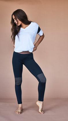 The bestselling Olympia Activewear Moto leggings have been given a fresh new update with a mesh knee patch to add a bit of edge to your classic black legging. Find you pair on Fashercise.com