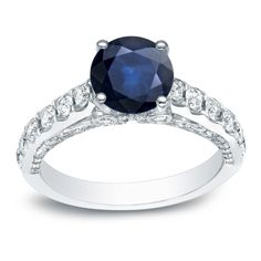 Auriya 14k 1ct Blue Sapphire and 3/4ct TDW Round Diamonds Engagement Ring (H-I, SI1-SI2) (Yellow Gold - Size 5), Women's