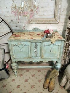 adore pale blue shabby chic furniture.... The chandelier is to die for and so is the flooring!!!