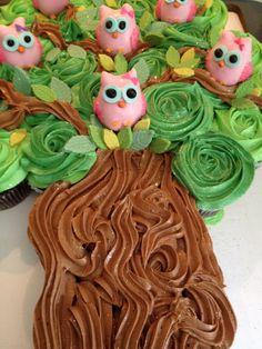 . cupcake cake . owls . tree .