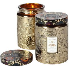 Voluspa Japonica Collection, Large Embossed Jar Candle, Crane Flower 1... ($26) ❤ liked on Polyvore featuring home, home decor, candles & candleholders, grapefruit scented candles, citrus scented candles, fruit scented candles, scented candles and scented jar candles