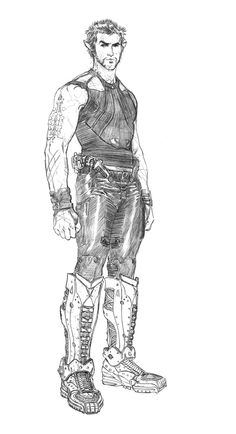 Original sketch for Channing Tatum's character Caine Wise in Jupiter Ascending by Steve Skroce Character Sheet, Character Modeling, Character Concept, Concept Art, Character Design, Jupiter Acending, Jupiter Ascending Movie, Shadow Runner, Comic Art