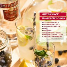 Smirnoff Lemon berry punch