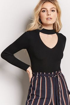 Product Name:Sweater Knit Cutout Mock Neck Top, Category:sweater, Price:12.9