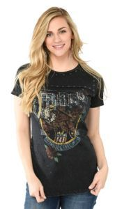 Affliction Women's Heavy Black with Faded Screen Print Front Design Short Sleeve Casual Knit | Cavender's