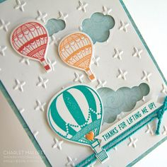 Hot Air Balloon handmade card using Life Me Up and coordinating Hot Air Balloon Framelits! - Occasions 2017 Stampin Up! Mini catalog Charlet Mallett - Painted Orange