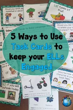 5 Ways to Use Task Cards that will Keep Your ELLs Engaged : Do you have sets of task cards but are unsure how to use them with your ELLs? Read to learn how to use task cards to keep ESL students engaged in learning. taskcards esl Ways Task Cards Engage In Learning, Student Learning, Esl Learning, Card Reading, Close Reading, Guided Reading, Whole Brain Teaching, Reading Passages, Task Cards
