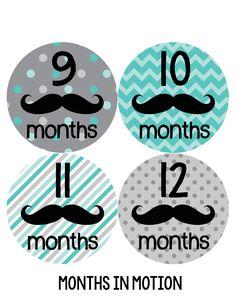 Baby Boy Monthly Milestone Stickers Style #161 - Monthly Baby Sticker