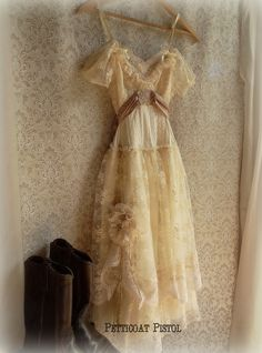 Tattered Rustic Wedding Dress Vintage Inspired by Petticoat Pistol,