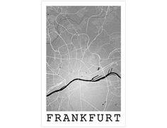 Frankfurt Street Map, Frankfurt Germany, Modern Art Print