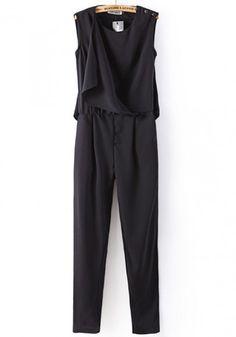 Black Plain Mid Waist Long Chiffon Jumpsuit-12135575232-00