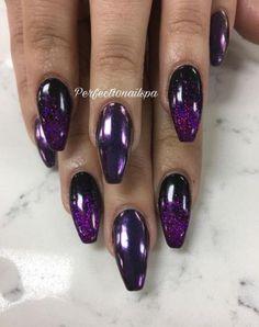 44 New Ideas nails purple glitter black Purple And Silver Nails, Purple Acrylic Nails, Black Nails With Glitter, Black And White Nail Art, Lilac Nails, Black Coffin Nails, Blue Nails, White Nails, Purple Nails With Design