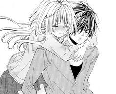 Image via We Heart It https://weheartit.com/entry/173607922 #anime #blackandwhite #blush #boy #couple #girl #hug #love #manga