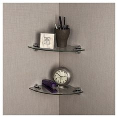 Floating Shelves Target Danya B™ Smoke Glass Radial Floating Shelves With Chrome Brackets
