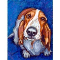 Basset Hound Art 8x10 or 11x14 Dog Art Print of by DottieDracos, $12.00