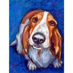 Basset Hound Art 8x10 or 11x14 Dog Art Print of by DottieDracos, $12.00