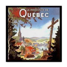 Quebec Canada Retro Travel Art Detail Ceramic Tile #Unbranded