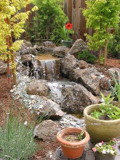 Small Waterfall Pond Landscaping For Backyard Decor Ideas 50 - DecOMG Garden Waterfall, Small Waterfall, Backyard Water Feature, Ponds Backyard, Garden Ponds, Pond Landscaping, Landscaping With Rocks, Aquarium Terrarium, Small Front Gardens