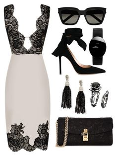 White, Gold & Black Lace by carolineas on Polyvore featuring polyvore, fashion, style, Agent Provocateur, Gianvito Rossi, Dolce&Gabbana, Oscar de la Renta, Rado, Yves Saint Laurent and clothing