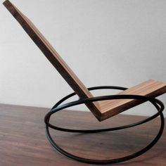 nowy design - fotel bujany Andre Joyau's Bascule Chair is a rocking chair in reclaimed maple with a blackened-steel base. Minimalist Furniture, Classic Furniture, Unique Furniture, Industrial Furniture, Furniture Design, Furniture Stores, Furniture Ideas, Cheap Furniture, Furniture Makeover