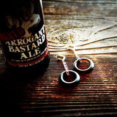 Beer Earrings ♻ Upcycled beer bottle earrings // Eco-friendly jewelry by reVetro Bottle Jewelry, Diy Jewelry, Recycled Glass Bottles, Eco Friendly Fashion, Beer Gifts, Mini Pendant, Ball Chain, Beer Bottle, Bangles