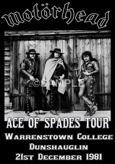 Motorhead Poster Ace Of Spades Tour 1981 Warrenstown College Ireland by PetesRetroPosters on Etsy Tour Posters, Band Posters, Music Posters, Pop Rock, Rock And Roll, Hard Rock, Show No Mercy, Pink Floyd Dark Side, Heavy Metal