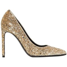 SAINT LAURENT 105mm Paris Glittered Leather Pumps (€575) ❤ liked on Polyvore featuring shoes, pumps, heels, platinum, pointed-toe pumps, yves saint laurent pumps, glitter high heel pumps, high heel shoes und glitter pumps