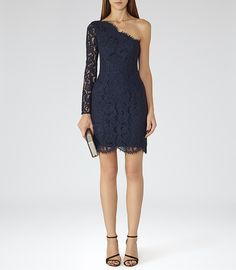 Womens Night Navy/black Asymmetric Lace Dress - Reiss Leticia