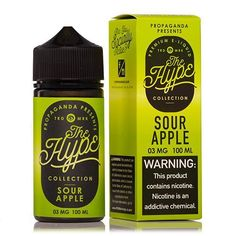 The Hype Collection Sour Apple by Propaganda is a sour green apple flavored Sweet and tangy Ejuice. Try it today here at West Coast Vape Supply!